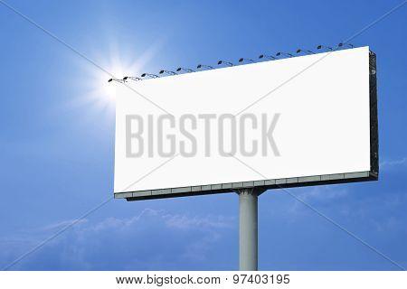 Blank Billboard For Advertisement On Sky Background