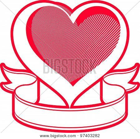 Loving heart vector illustration. Love conceptual symbol with simple ribbon
