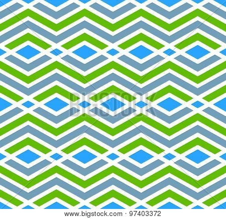 Colorful geometric zigzag seamless pattern, symmetric endless vector background. Abstract