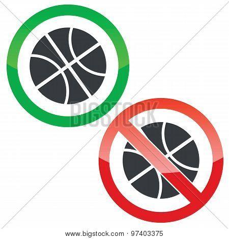 Basketball permission signs set