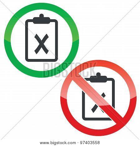 Negative result permission signs set
