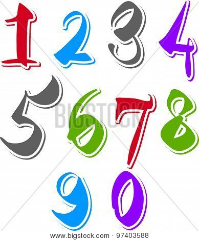 Vector stylish brush digits, handwritten numerals, white numbers set on dark background.