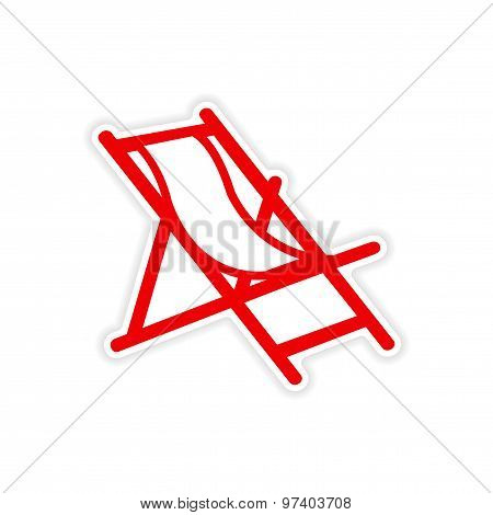icon sticker realistic design on paper deck chair