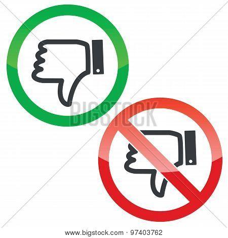 Dislike permission signs set