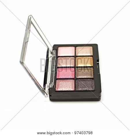 Cosmetic Eyeshadow Palette Makeup Set Isolated On White