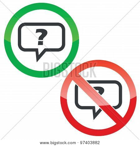 Question permission signs set