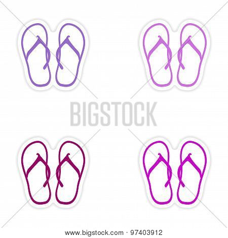 assembly realistic sticker design on paper beach flip flops