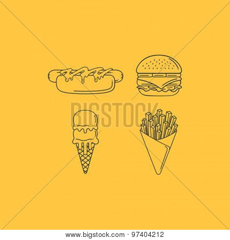 Fast Food Line Icon Set
