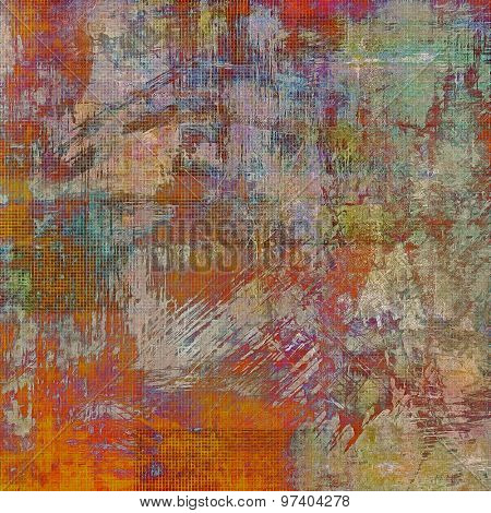 Background with grunge stains. With different color patterns: brown; purple (violet); green; red (orange)