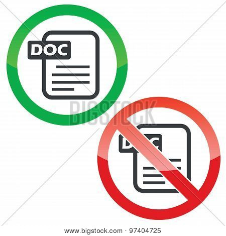 DOC file permission signs set