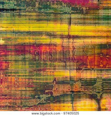 Abstract grunge background with retro design elements and different color patterns: yellow (beige); purple (violet); green; red (orange)