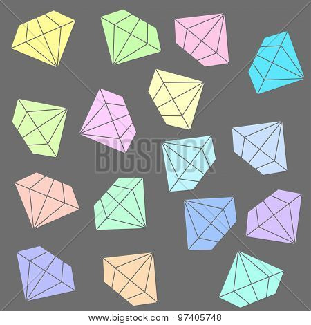Flat diamonds seamless pattern vector Colorful gemstone background in bright pastel colors