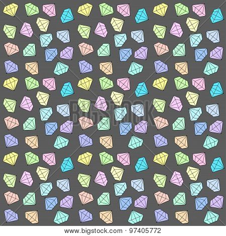 Diamonds background vector Colorful jewels in bright pastel colors