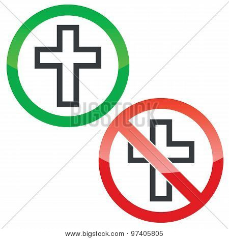 Christian cross permission signs set
