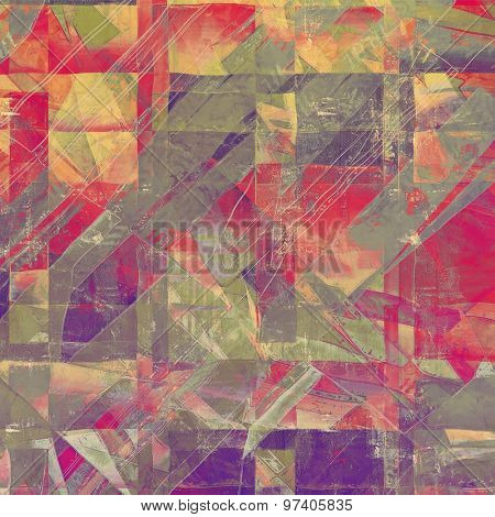 Grunge old-school texture, background for design. With different color patterns: yellow (beige); purple (violet); green; red (orange)