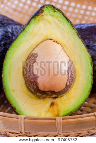 Halved Avocado With Core Isolated On White - In Macro Shot..