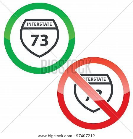 Interstate 73 permission signs set