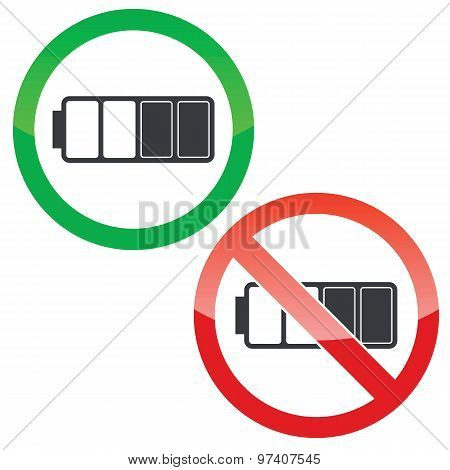Half battery permission signs set