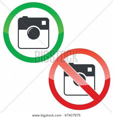 Square camera permission signs set