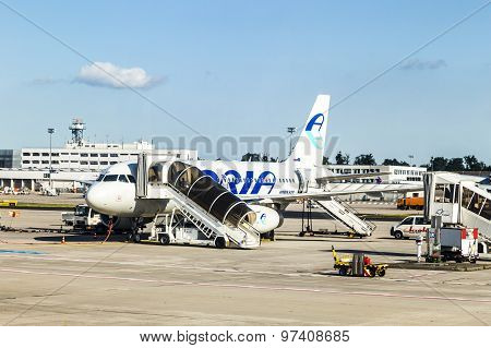 Boarding Adria Airlines In Frankfurt Airport