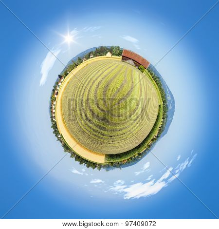 An image of a beautiful tiny planet countryside