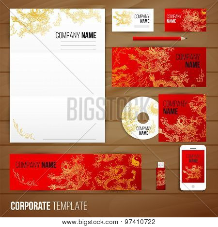 Corporate identity business set design with asia dragons.