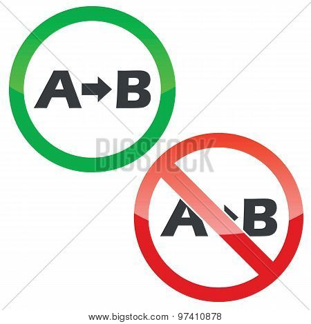 A B permission signs set