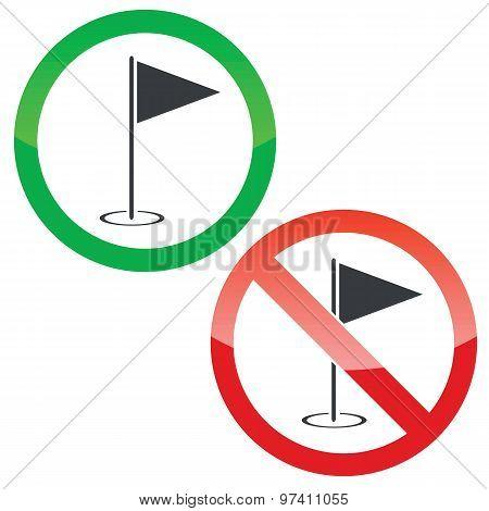 Golf permission signs set