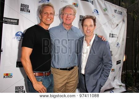 LOS ANGELES - JUL 29:  Patrick Fabian, Ed Begley Jr., Raphael Sbarge at the