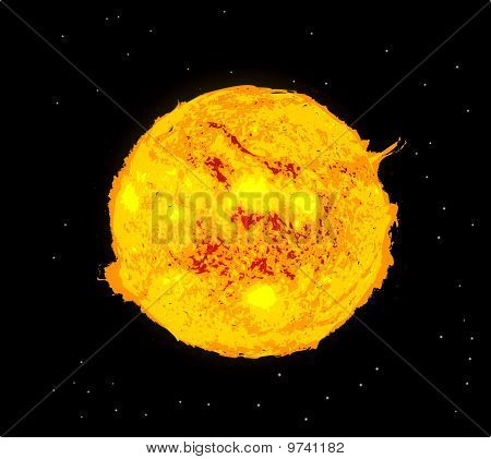 Sun And Space On Black Star Space Background