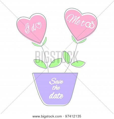 Save the date card vector illustration Pink heart shaped plants in a violet flower pot