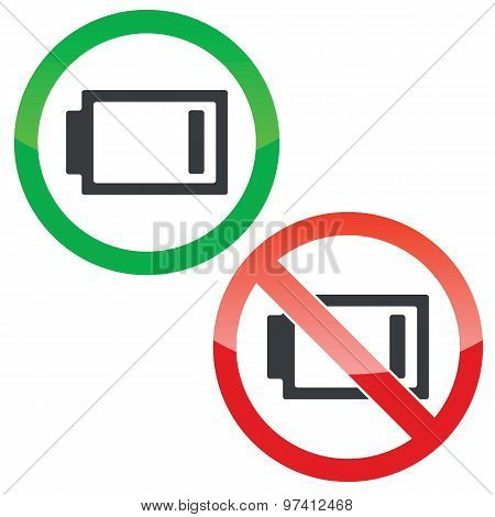 Low energy permission signs set