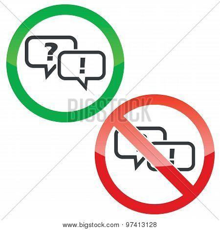 Question answer permission signs set
