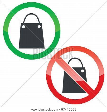 Shopping permission signs set