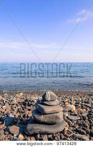 Zen Stones On A Beach.