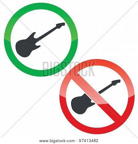 Guitar permission signs set