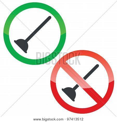 Plunger permission signs set