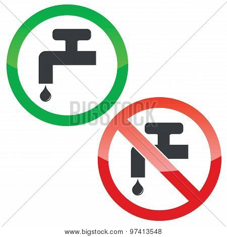 Water tap permission signs set