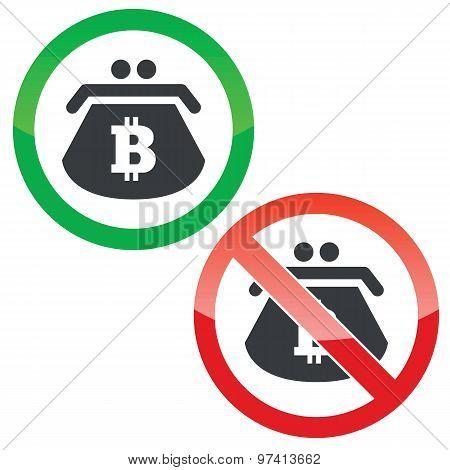 Bitcoin purse permission signs set