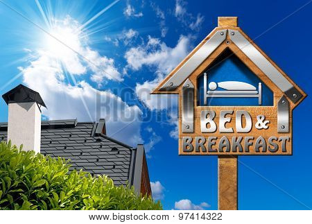 Bed And Breakfast Sign With House