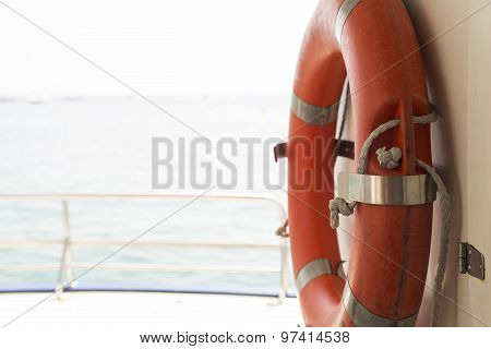 Lifebuoy on a yacht side.