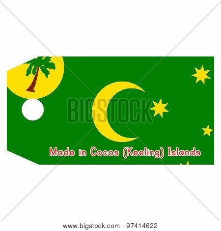 Vector Illustration Of Cocos (keeling) Islands Flag On Price Tag With Word Made In Cocos (keeling) I
