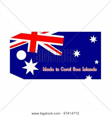 Vector Illustration Of Coral Sea Islands Flag On Price Tag With Word Made In Coral Sea Islands Isola