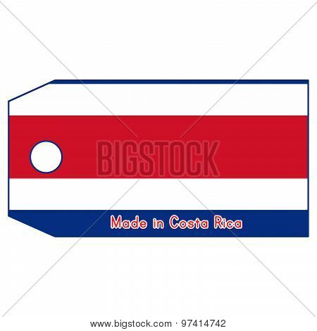 Vector Illustration Of Costa Rica Flag On Price Tag With Word Made In Costa Rica Isolated On White B