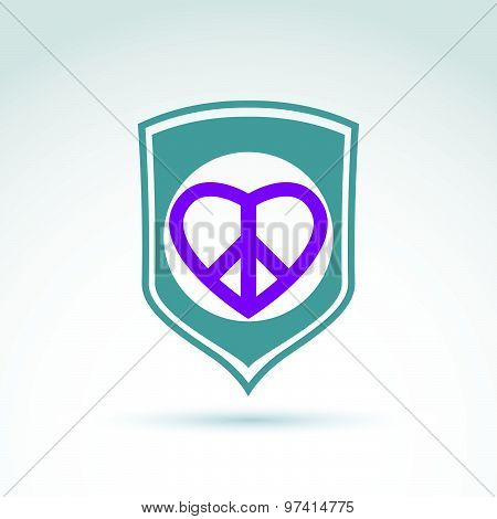 Round peace and love vector icons placed on a shield, peace protection vector icon. Peacemaker