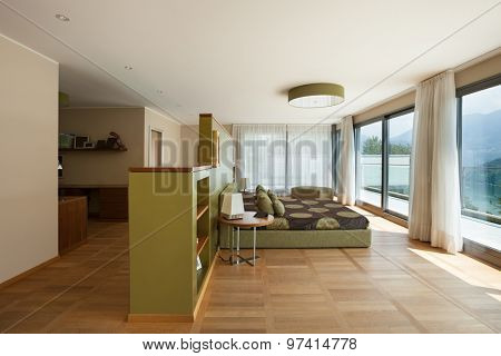 Interior of modern apartment furnished, comfortable bedroom