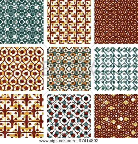 Set of dotted seamless patterns with rings, brown polka dot tiles, infinite geometric texture