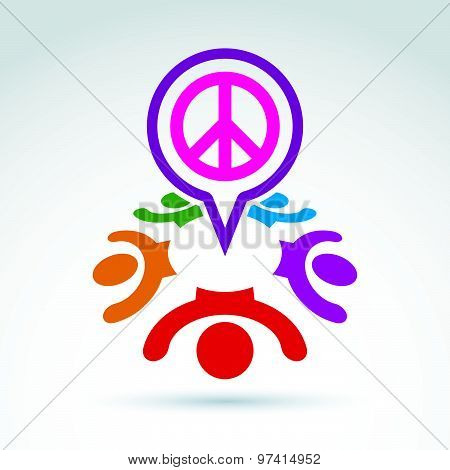 Speech bubble with a global peace sign from 60s, hippy icon.  Speech bubble