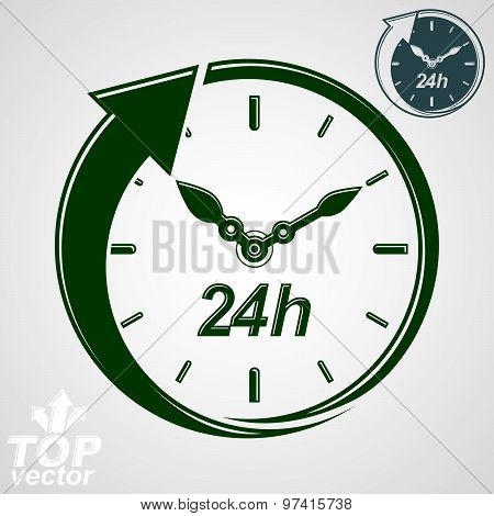 Graphic web vector 24 hours timer, around-the-clock flat pictogram. Day-and-night interface icon.