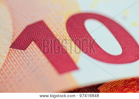 Ten Euro Note, European Currency Macro Shot.